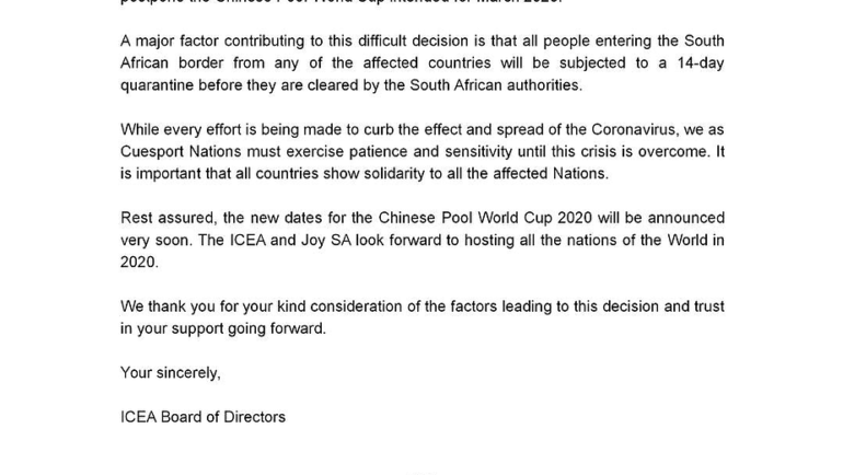 STATEMENT OF THE ICEA BOARD ON CHINESE POOL WORLD CUP 2020