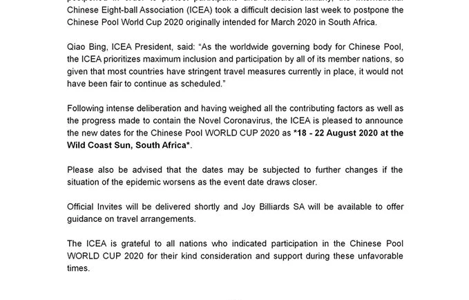 ICEA Statement Regarding New Dates For Chinese Pool World Cup 2020